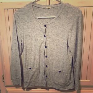 J. Crew Button Up Cardigan Grey w/Brown Buttons, M